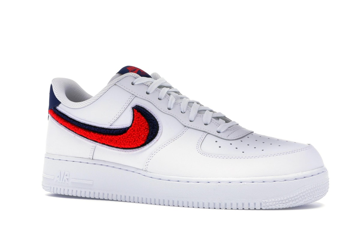 Nike Air Force 1 Low 3D Chenille Swoosh White Red Blue - 823511-106