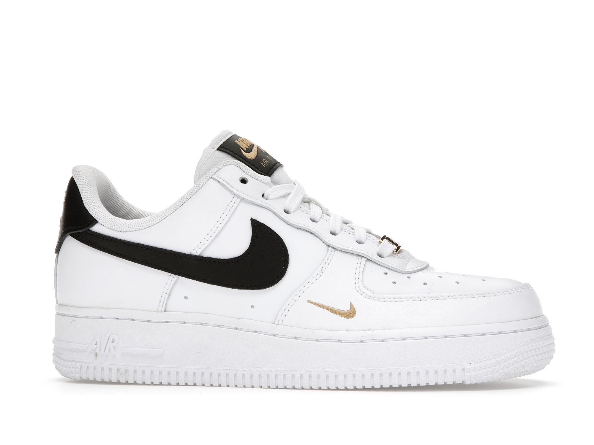 Nike Air Force 1 Low 07 Essential White Black Gold Mini Swoosh (W)