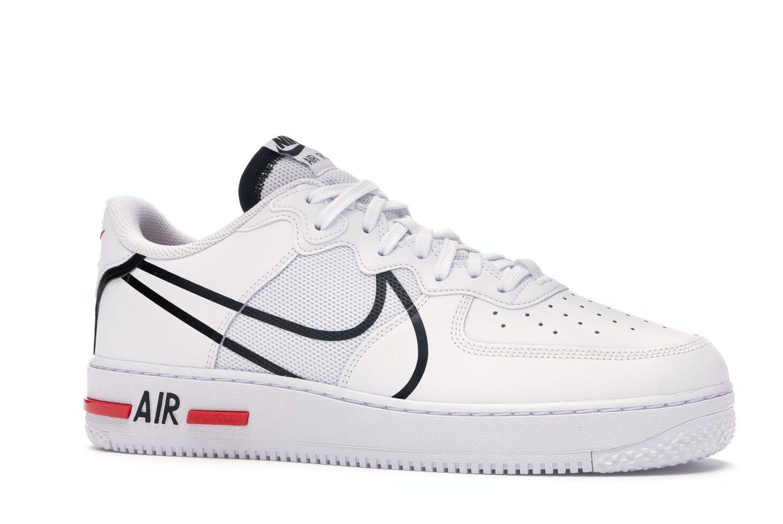Nike Air Force 1 React White Black Red