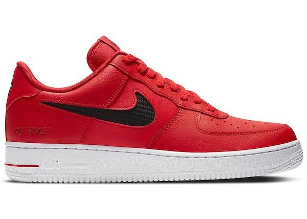 Todo el mundo Y Excepcional  Nike Air Force 1 Low Cut Out Swoosh Red Black - CZ7377-600