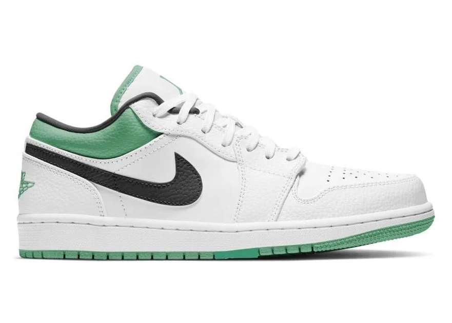 Jordan 1 Low White Lucky Green Tumbled Leather (GS)