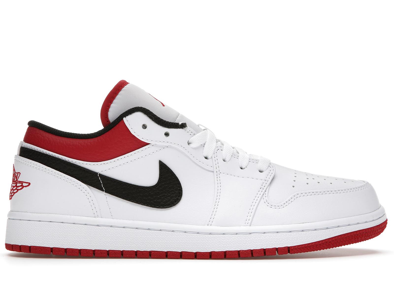 Jordan 1 Low White University Red Black - 553558-118