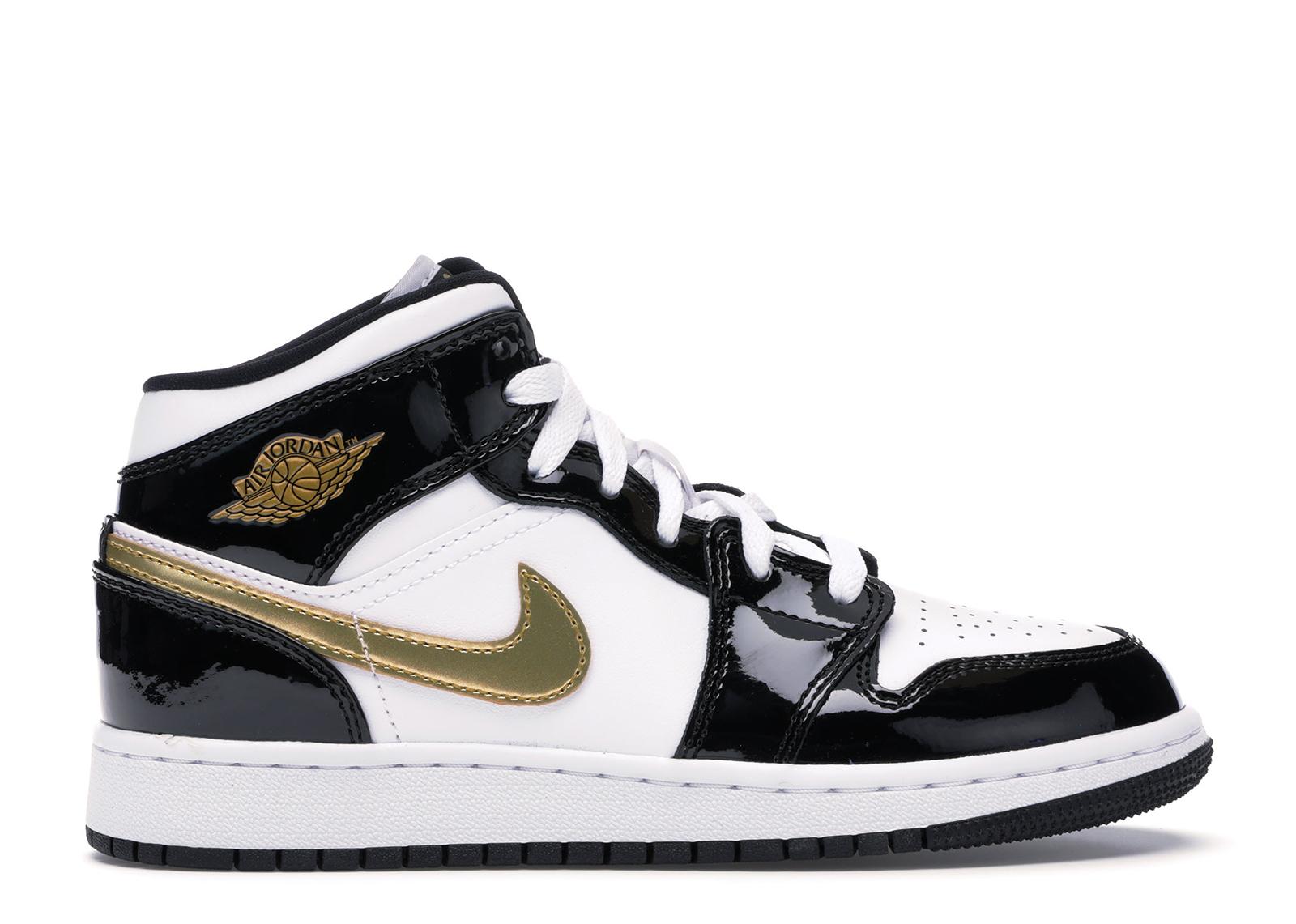 Jordan 1 Mid Patent Black White Gold (GS)