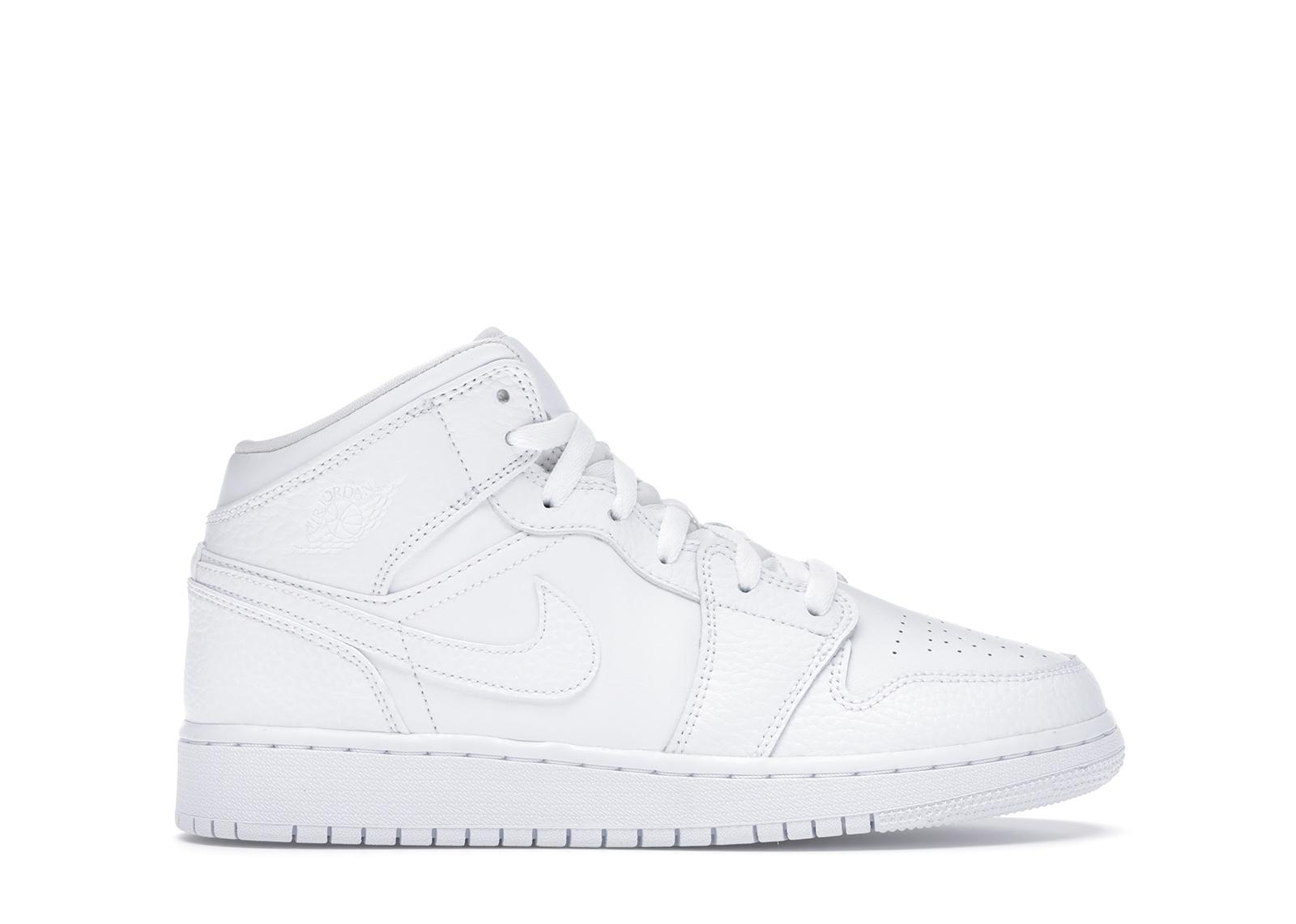 Jordan 1 Mid Triple White (GS) - 554725-130