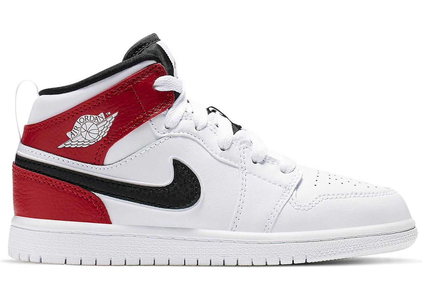 Jordan 1 Mid White Black Gym Red (PS)