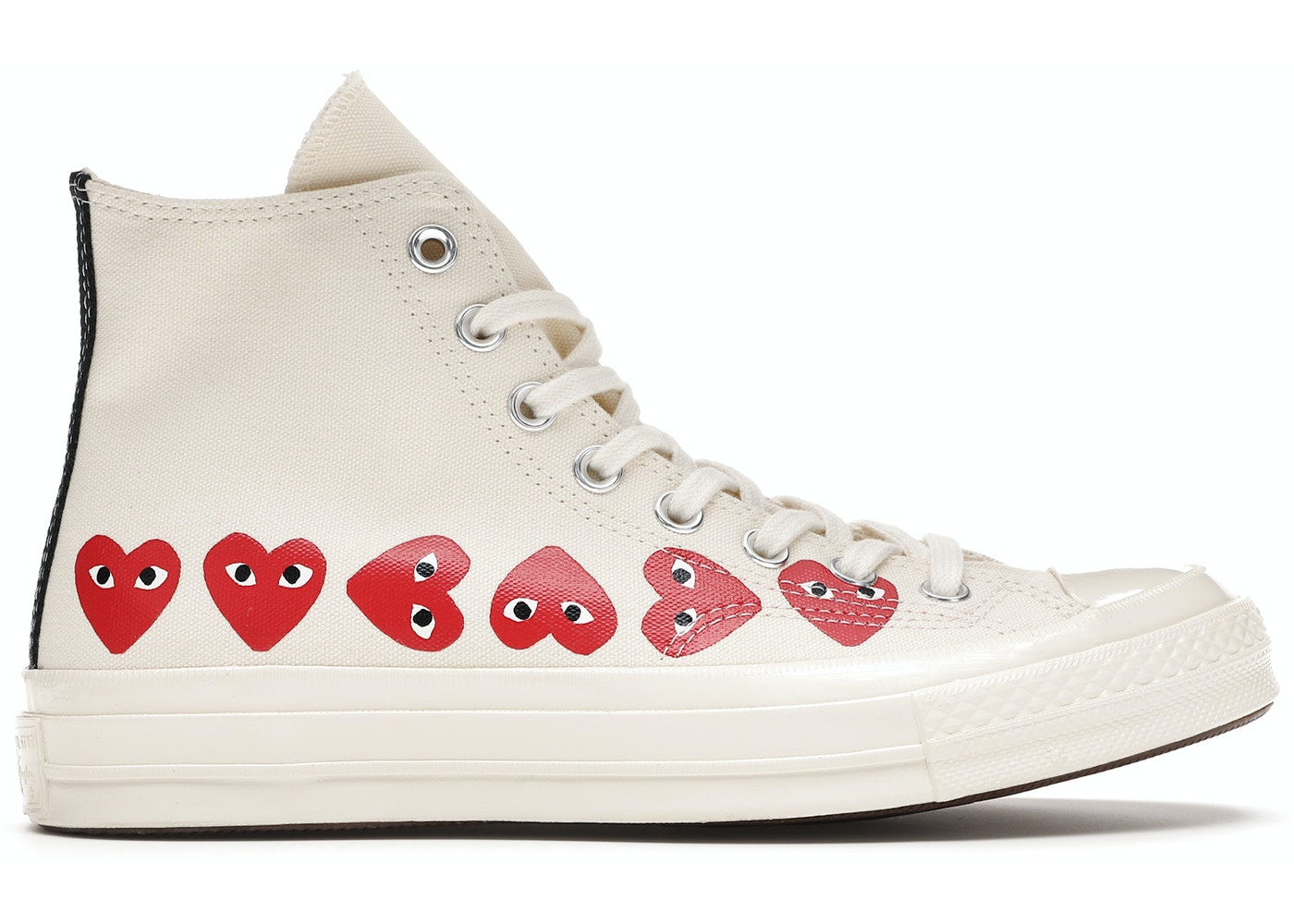 triángulo educador sostén  Converse Chuck Taylor All-Star 70s Hi Comme des Garcons Play Multi-Heart  White - 162972C