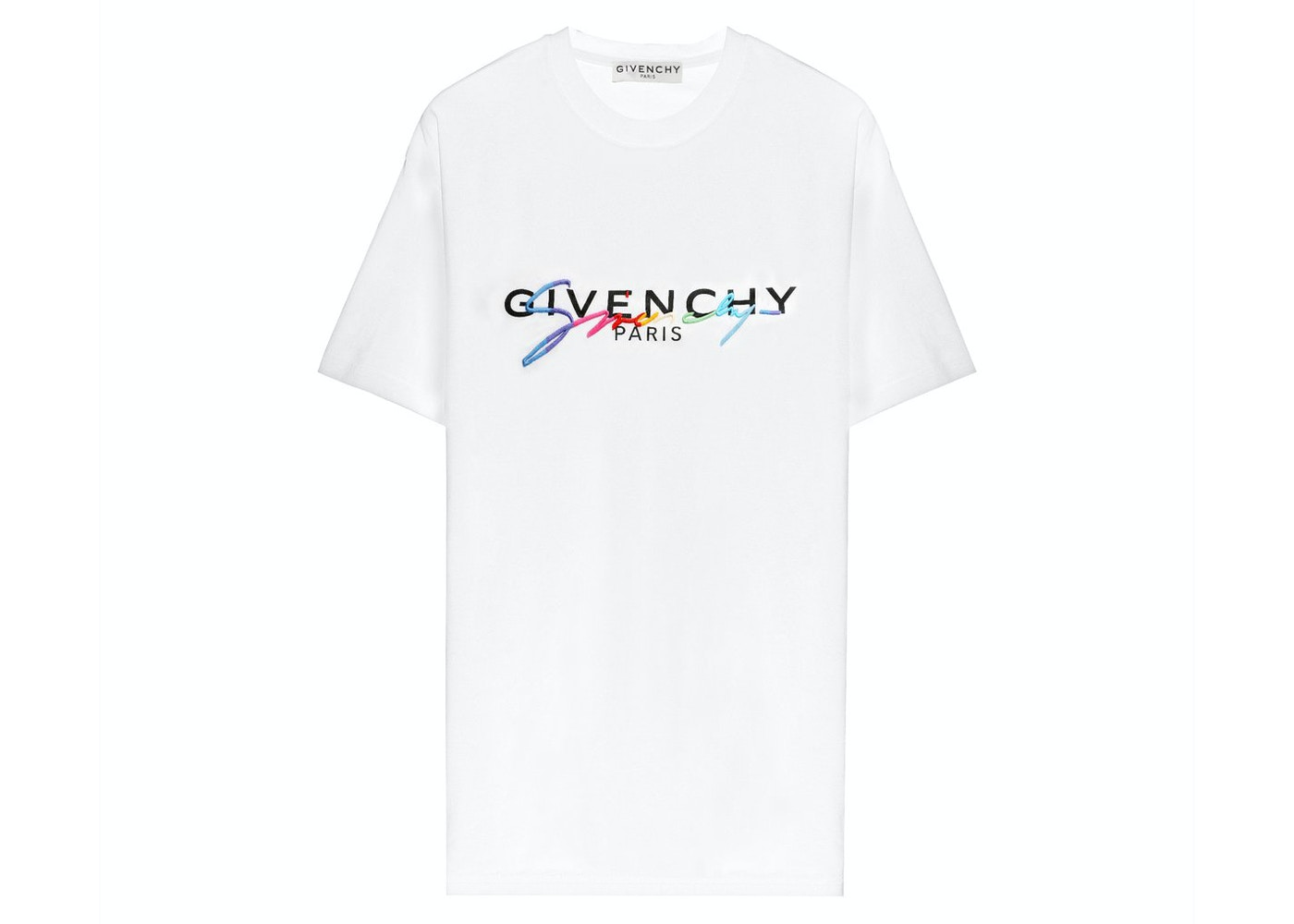 Givenchy Paris Embroidered Logo T shirt White   SS20