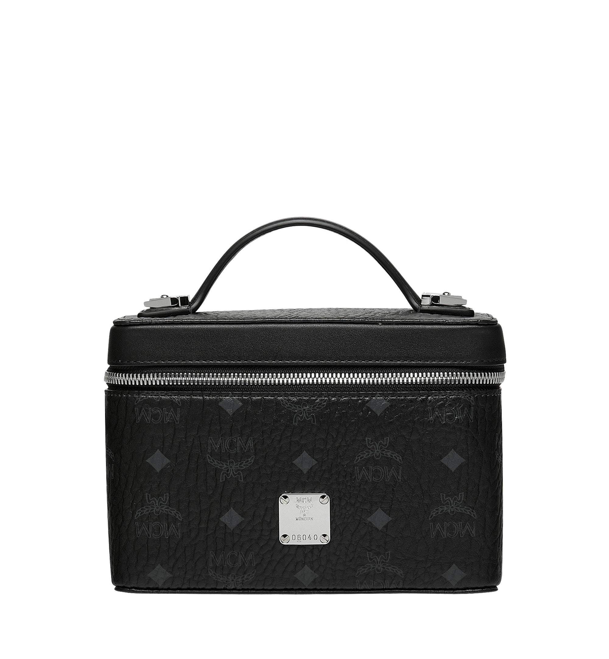 Mcm Vanity Case Visetos Small Black In Coated Canvas With Silver Tone