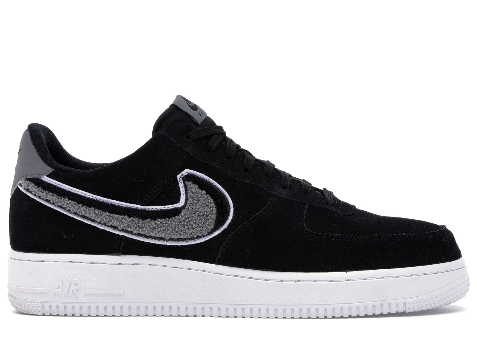 Nike Air Force 1 Low 3D Chenille Swoosh Black Cool Grey - 823511-014