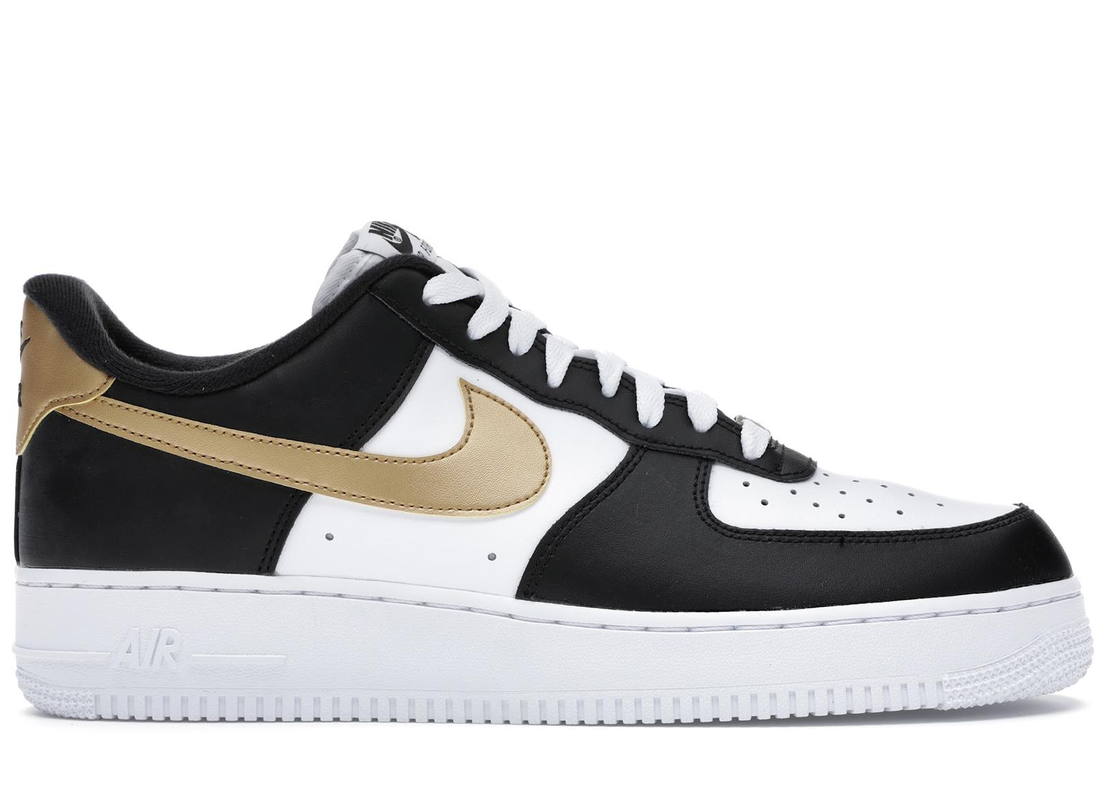 Nike Air Force 1 Low Black White Metallic Gold