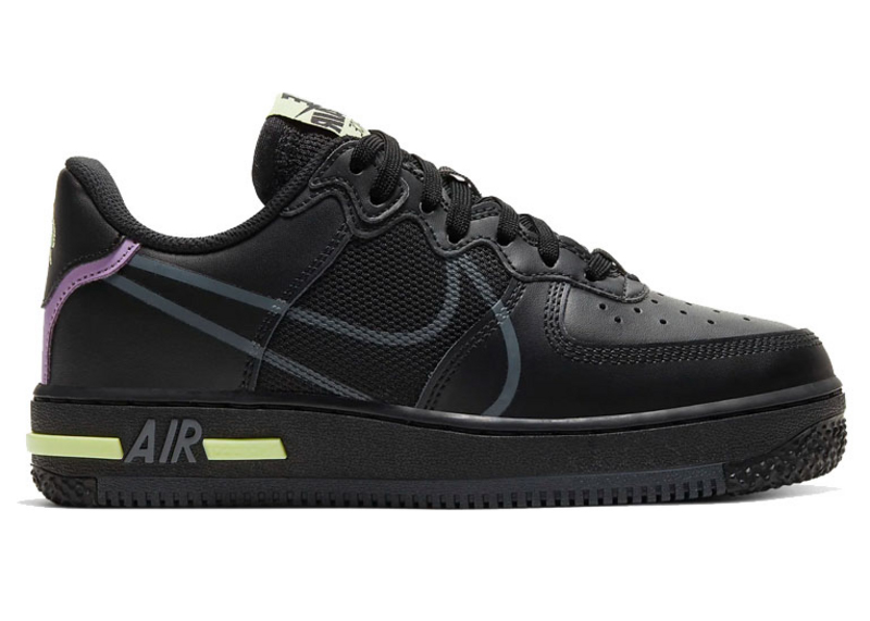 Nike Air Force 1 Low React Black Violet Star Barely Volt (GS)