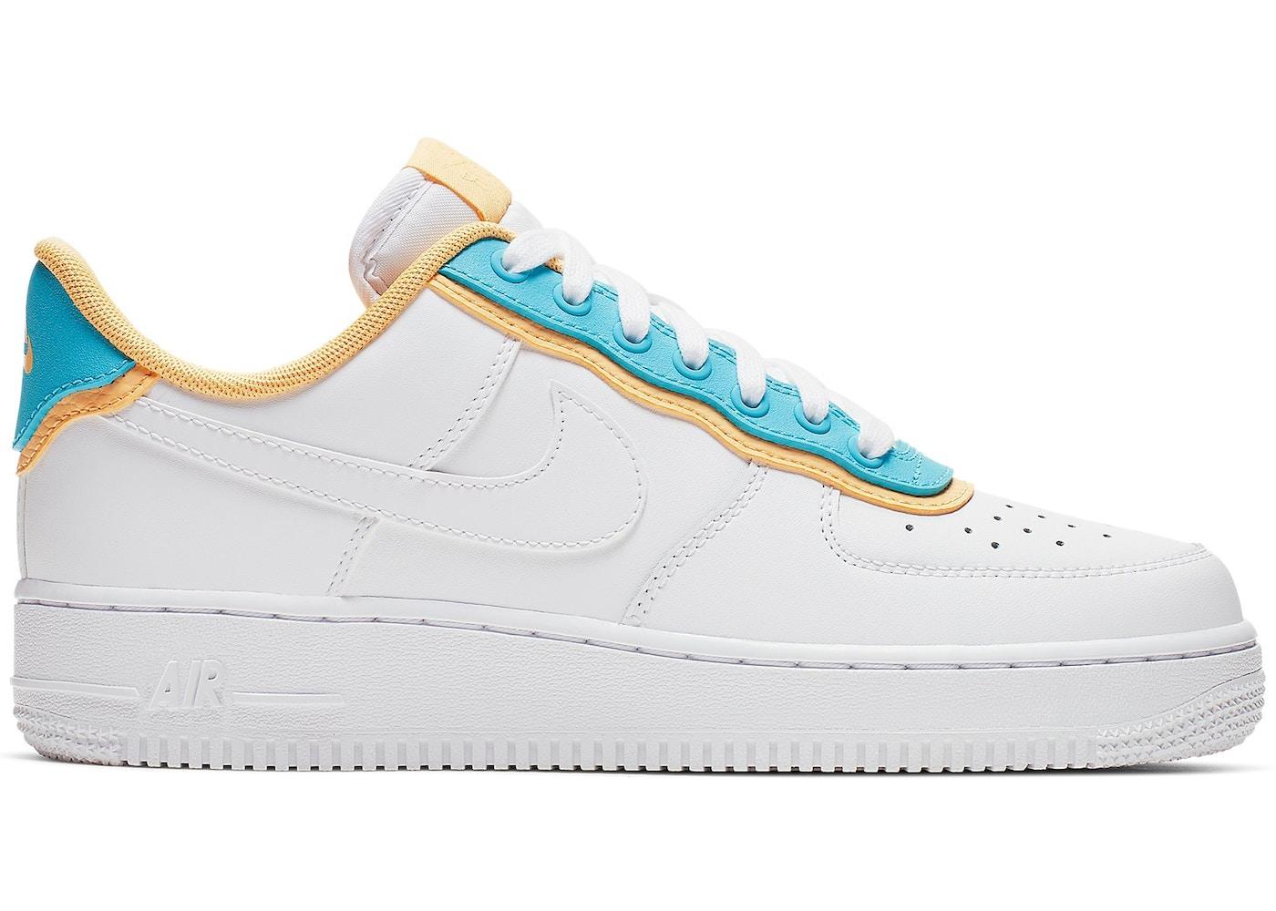Nike Air Force 1 Low SE White Light Blue Fury Topaz Gold (W)