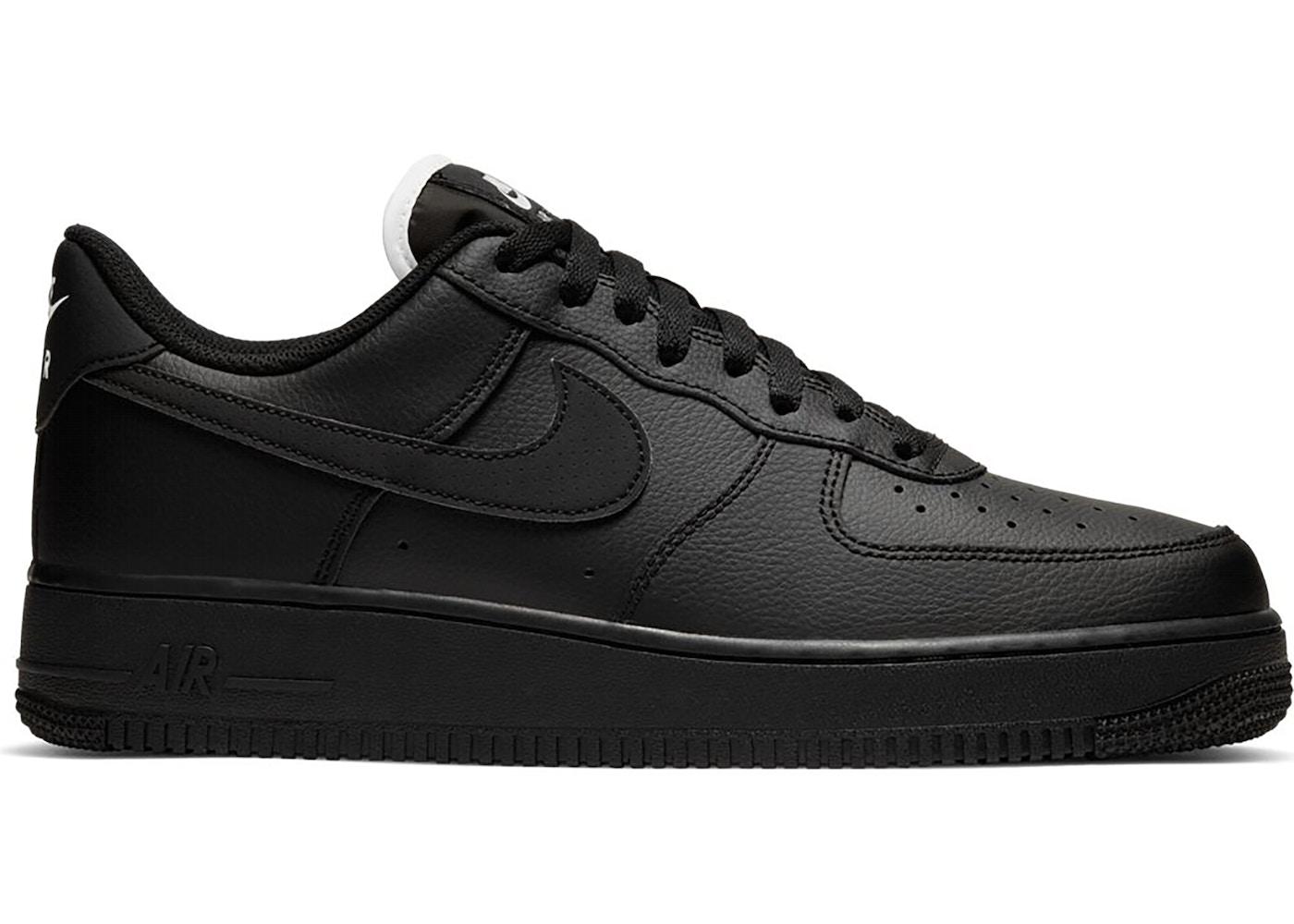 Nike Air Force 1 Low Triple Black (White Tongue)