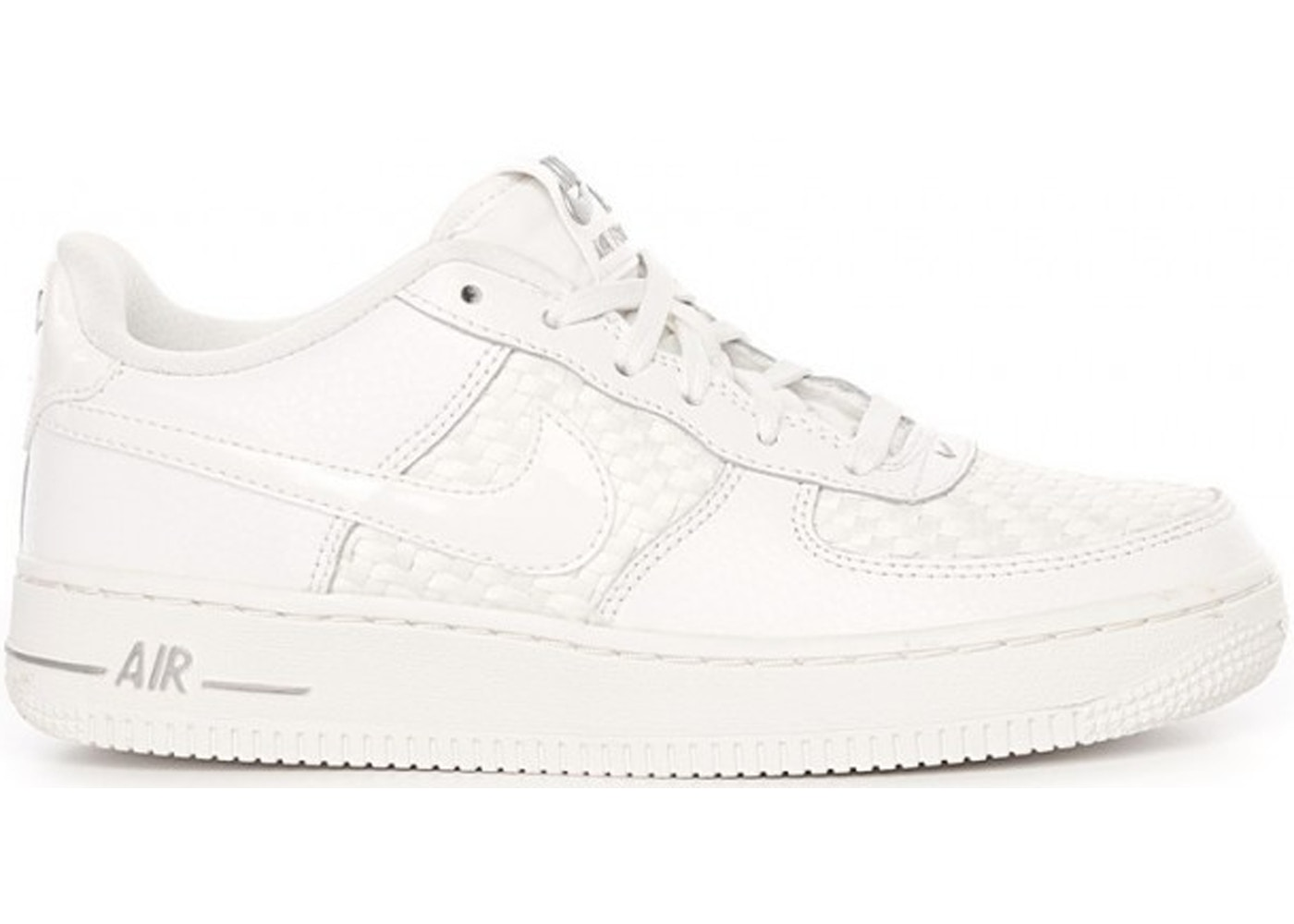 Nike Air Force 1 Low Triple White Leather Woven (GS)