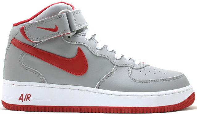 Nike Air Force 1 Mid Grey Varsity Red