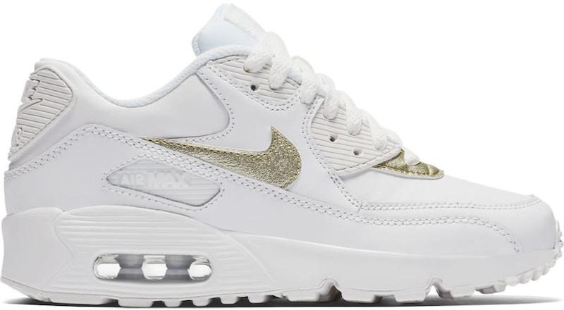 Nike Air Max 90 White Metallic Gold Star (GS) - 833376-103