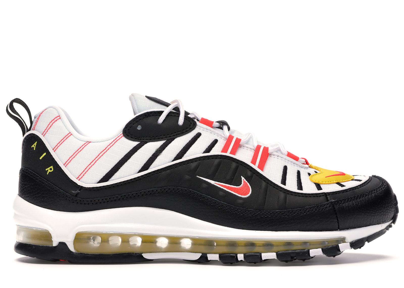Nike Air Max 98 Black White Yellow Crimson - 640744-016