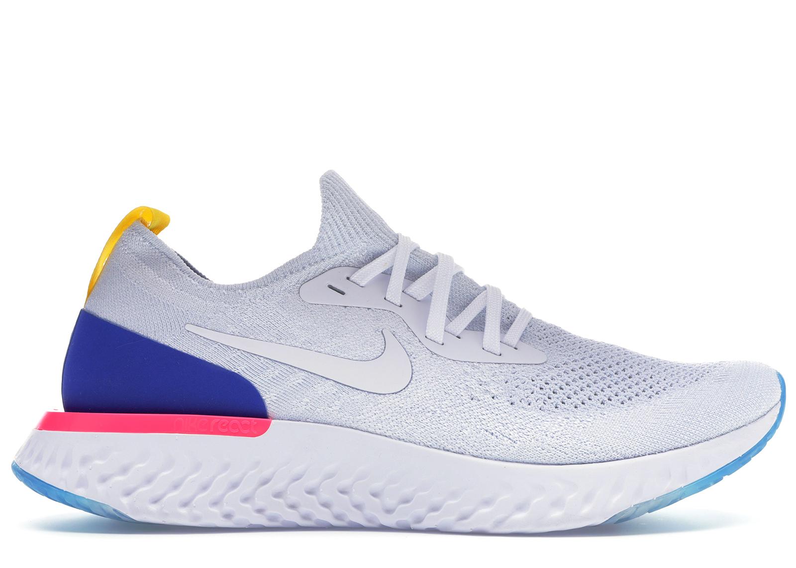 Nike Epic React Flyknit White Racer Blue Pink Blast - AQ0067-101