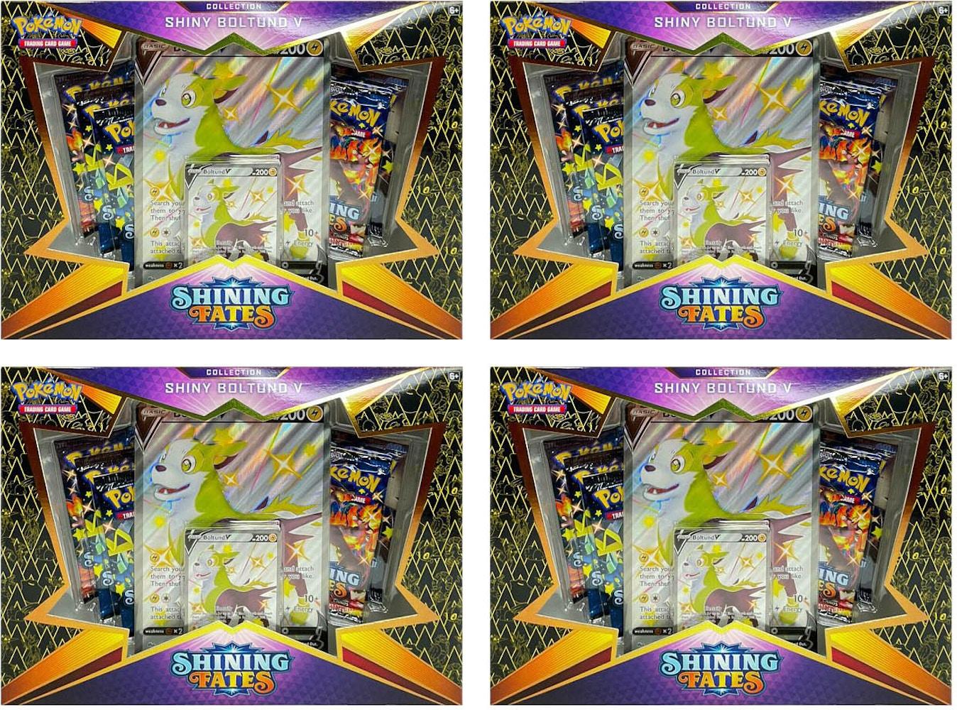 Pokemon TCG Shining Fates Shiny Boltund V Collection Box 4X Lot