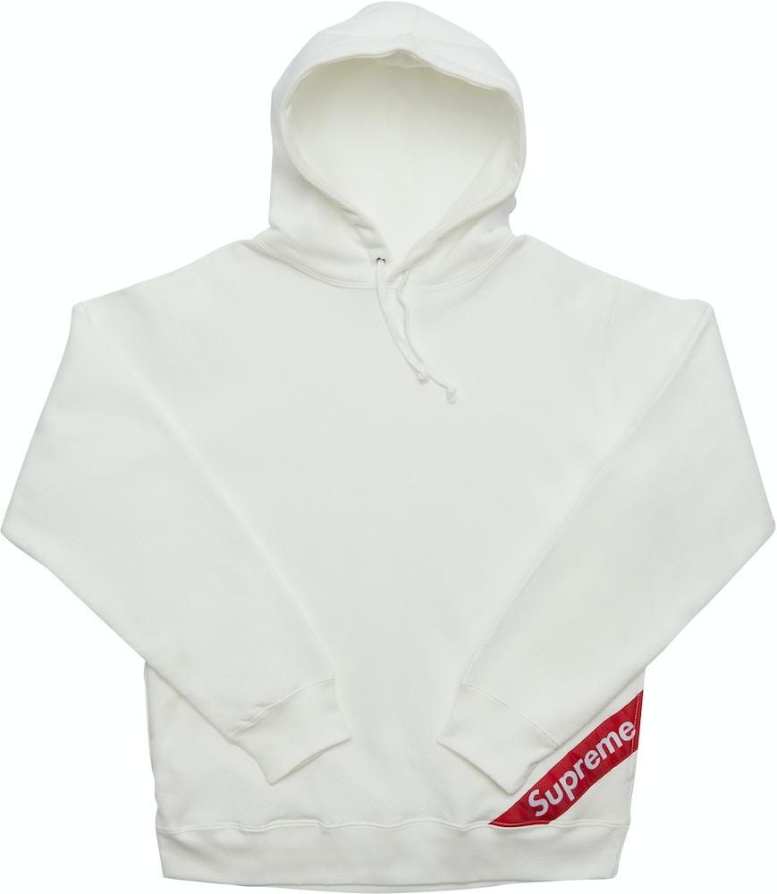 Supreme Corner Label Hooded Sweatshirt White Ss18 [ 1000 x 869 Pixel ]