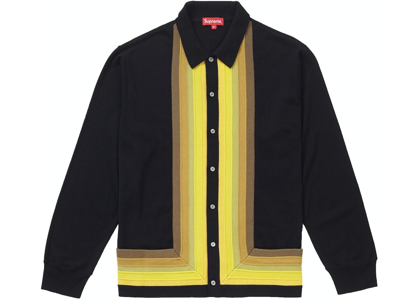 Supreme Corner Stripe Polo Sweater Black