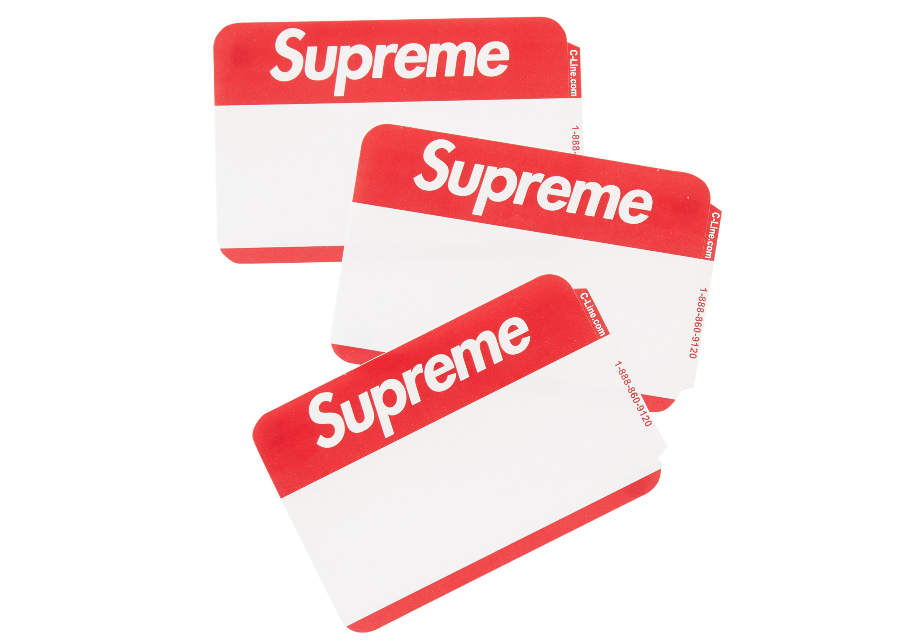 Supreme FW20 Name Badge Stickers Pack of 100