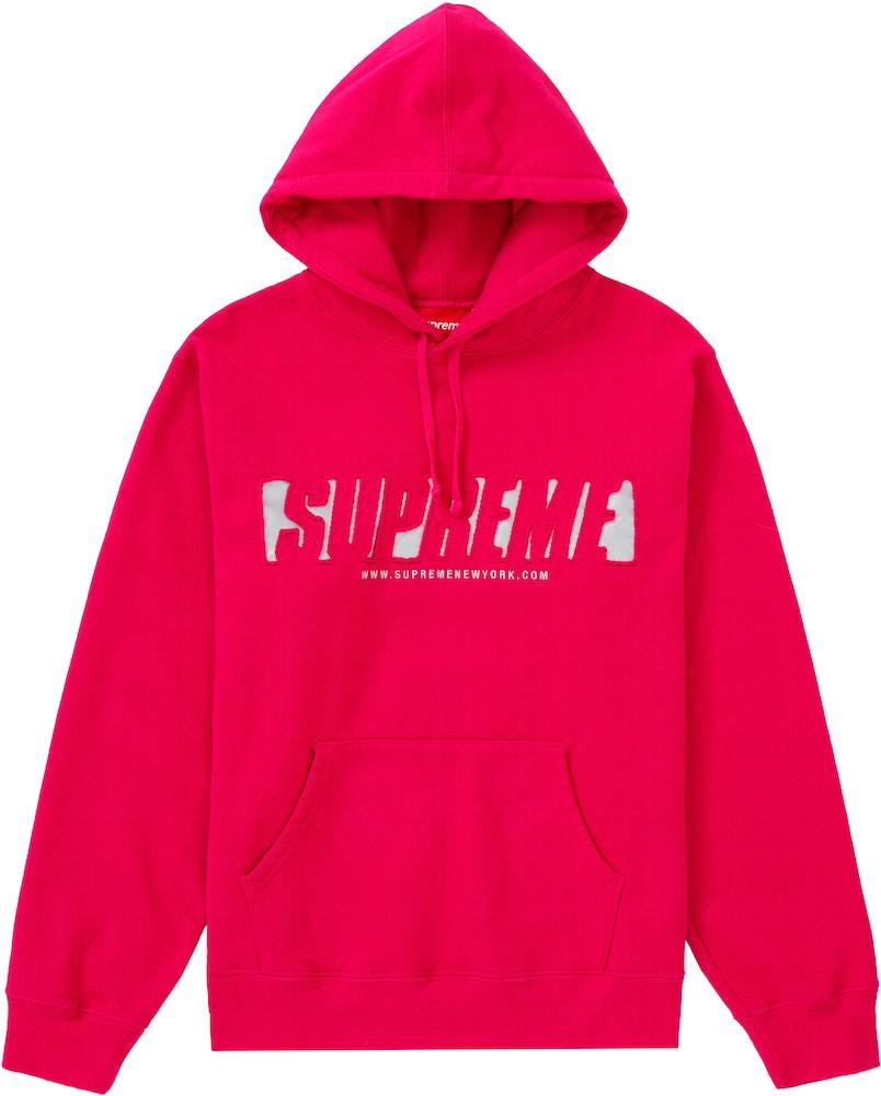 Supreme Reflective Cutout Hooded Sweatshirt Fuchsia Ss20 [ 1000 x 804 Pixel ]