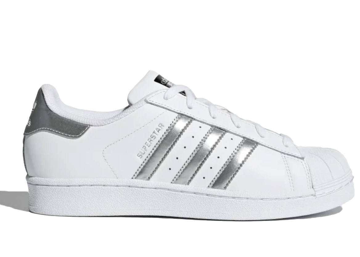 adidas Superstar White Silver Metallic