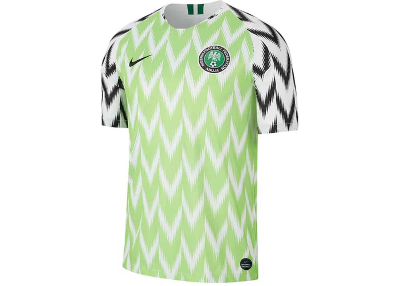 camuflaje campana dos  Nike Nigeria 2019 Stadium Home Jersey White/Black - SS19