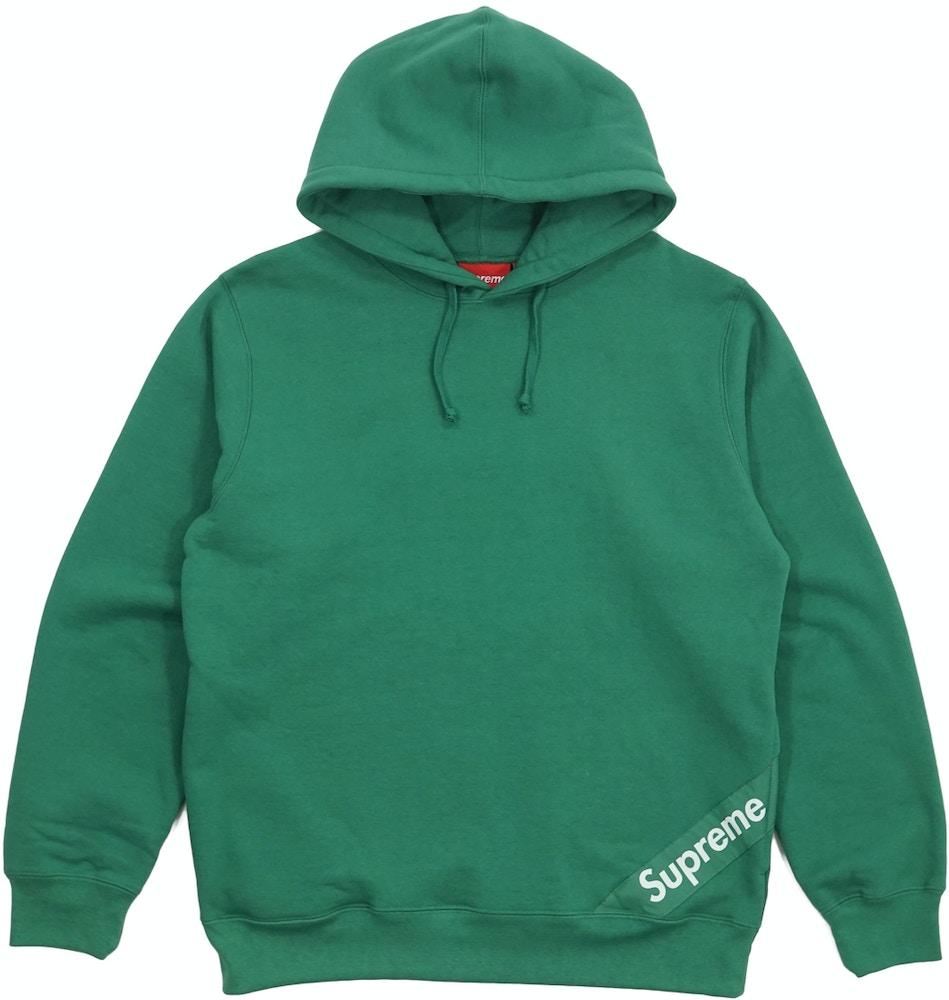 Supreme Corner Label Hooded Sweatshirt Light Pine Ss18 [ 1000 x 949 Pixel ]