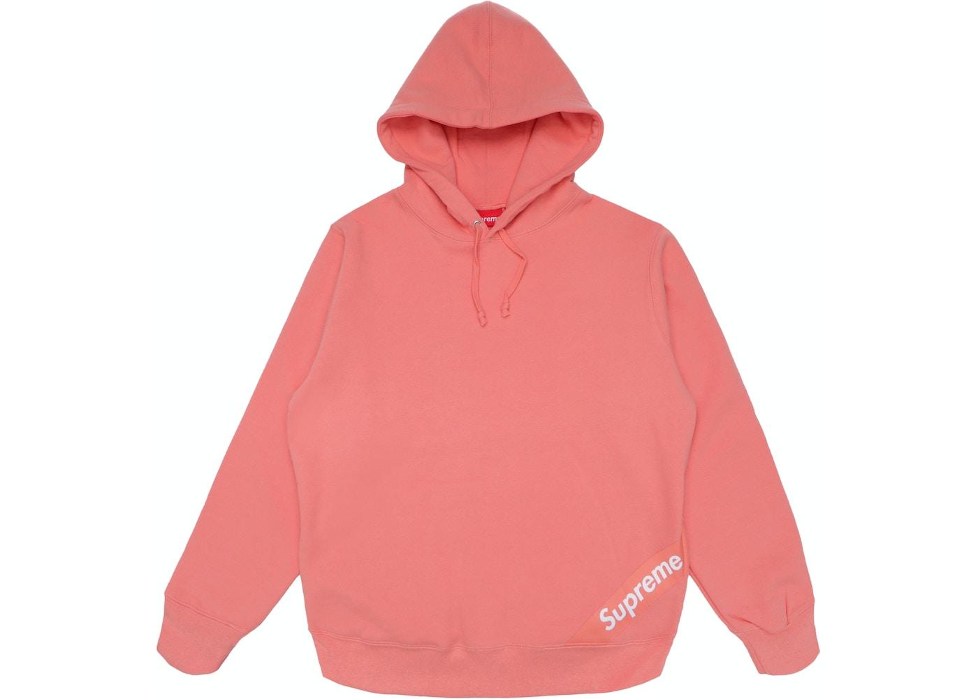 Supreme Corner Label Hooded Sweatshirt Coral Ss18 [ 1000 x 1400 Pixel ]