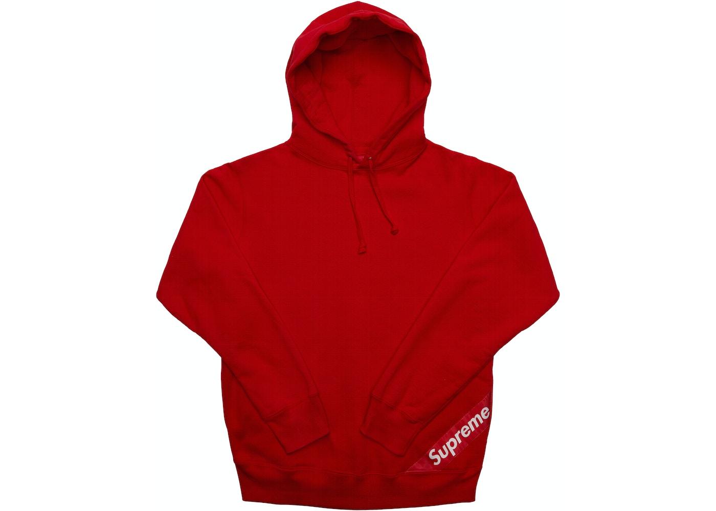 Supreme Corner Label Hooded Sweatshirt Red Ss18 [ 1000 x 1400 Pixel ]