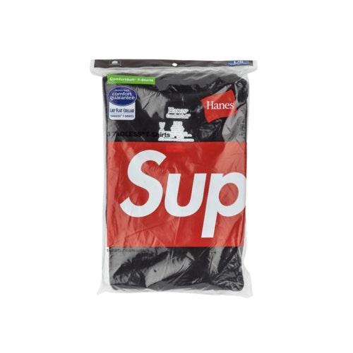 1 T-SHIRT WH SUPREME AUTHENTIC HANES TAGLESS SMAILL BOX LOGO TEE SHIRT BLACK